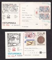 Czechoslovakia: 2x Postcard To Netherlands, 1978, 7 Stamps, Souvenir Sheet, Exhibition Ticket? (minor Damage) - Tsjechoslowakije