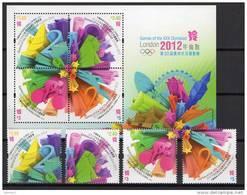 Hongkong 2012 Olympic Games London, Cycling Etc. Set Of 4 + S/s MNH - Verano 2012: Londres
