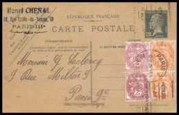 4719 30c Vert Pasteur Complement Affranchissement Composé Type Blanc 1926 Carte Postale France Entier Postal Stationery - Postal Stamped Stationery