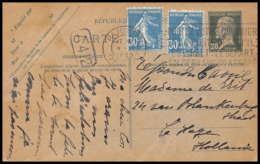 4793 Pasteur 20c + Complement Haye Pays Bas Pays-Bas (Netherlands) Carte Postale France Entier Postal Stationery - Cartes Postales Types Et TSC (avant 1995)