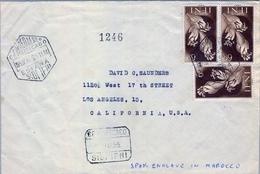 1955 , IFNI , CERTIFICADO CORREO AÉREO,  SIDI IFNI - CALIFORNIA , ED. 108 X 3 , LLEGADA AL DORSO - Ifni