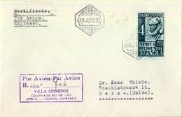 1950 , AFRICA OCCIDENTAL  , CERTIFICADO  AÉREO VILLA CISNEROS - BERNA , ED. 1 , TRÁNSITO DE MADRID Y LLEGADA - Sahara Español