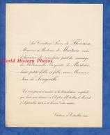 Document De 1904 - Château D ESTRABLIN (Isère) - Mariage Jean De LONGEVILLE & Mademoiselle Marguerite De MARTENE - Mariage