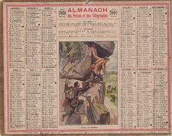 ALMANACH DES POSTES 1940 - FORMAT LIVRET CARTONNE SIMPLE - VERSO TABLEAU DES LEVERS DE SOLEIL - CHASSE AUX CHAMOIS - Calendars