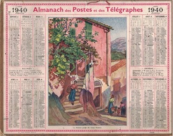 ALMANACH DES POSTES 1940 - FORMAT LIVRET CARTONNE SIMPLE - COMPLET AVEC CARTE - DEPARTEMENT DU GARD - Calendars