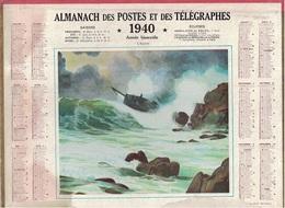 ALMANACH DES POSTES 1940 - FORMAT LIVRET CARTONNE DOUBLE- COMPLET AVEC CARTE - DEPARTEMENT DE L'ARIEGE. - Calendars