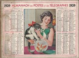 ALMANACH DES POSTES 1939 - FORMAT LIVRET CARTONNE SIMPLE- COMPLET - DEPARTEMENT DU GARD - TACHE COTE GAUCHE. - Calendars