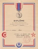 DIPLOME DE LA MEDAILLE COMMEMORATIVE MAINTIEN DE L ORDRE 1959 AGRAFE ALGERIE - Documents