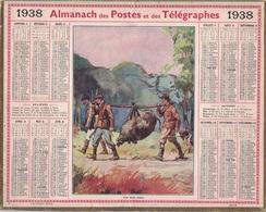 ALMANACH DES POSTES 1938 - FORMAT LIVRET CARTONNE SIMPLE- INCOMPLET - VERSO LEVERS DE SOLEIL. - Calendars