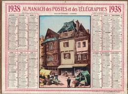ALMANACH DES POSTES 1938 - FORMAT LIVRET CARTONNE SIMPLE- COMPLET - DEPARTEMENT DE LA SEINE - PLUSIEURS CARTES. - Calendars