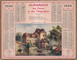ALMANACH DES POSTES 1938 - FORMAT LIVRET CARTONNE SIMPLE- COMPLET AVEC CARTE - DEPARTEMENT LA SARTHE. - Calendars