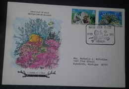L) 1978 BRITISH VIRGIN ISLANDS, CARIBBEAN CORAL, NATURE, FIRE CORAL, 8C, FISH, 15C, CIRCULATED COVER FROM BRITISH VIRGIN - British Virgin Islands