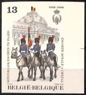 [827571]Belgique 1988 - N° 2308, Escorte Royale, Police - Gendarmerie, ND/IMPERF, Bdf - Politie En Rijkswacht