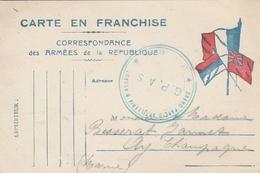 Correspondance Des Armées De La République - 1918 - Cachet Bleu G.P.A.S. Et Au Dos Cachet AY (Marne) - Cartes De Franchise Militaire
