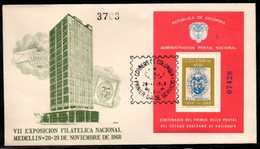 COLOMBIA- KOLUMBIEN - 1968  FDC/SPD.  S/S - VII NATIONAL PHILATELIC EXPOSITION - Colombia