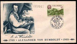 COLOMBIA- KOLUMBIEN - 1969  FDC/SPD.  200 YEARS OF ALEXANDER VON HUMBOLDT - Colombie