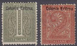 ERITREA - 1893 -  Lotto Di Due Valori Nuovi MH: Yvert 1 E 2, Come Da Immagine. - Eritrea