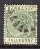 BARBADOS - 1882 HALF PENCE WMK CROWN CA STAMP DULL GREEN GOOD USED SG 89 - Barbados (...-1966)