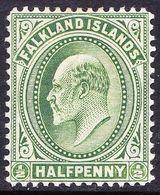 FALKLAND ISLANDS 1911 KEDVII 1/2d Deep-Yellow Green SG43c MH - Falkland Islands