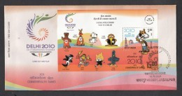 INDIA, 2008,  FDC,  XIX Commonwealth Games, With Shera The Mascot,  Miniature Sheet,  Jabalpur  Cancellation - FDC