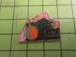 811b Pin's Pins / Rare & De Belle Qualité : THEME BANQUES / CAISSE D'EPARGNE ECUREUIL L'AMI FINANCIER MELON - Banques