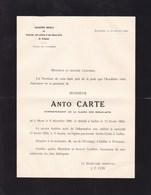 MONS IXELLES Peintre Anto CARTE Correspondant Académie Royale 1886-1954 Faire-part Mortuaire - Avvisi Di Necrologio