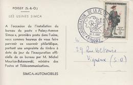Carte   FRANCE   Inauguration  Bureau  De   Poste   De   L' Usine   SIMCA    De   POISSY    1961 - Poste