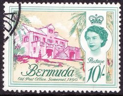 BERMUDA 1962 QEII 10/- Magenta Deep Bluish Green SG150 Fine Used - Bermuda