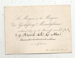 Carte De Visite , Le Marquis & La Marquise De Godefroy-Ménilglaise , Rue De Grenelle Saint Germain , Paris - Cartes De Visite