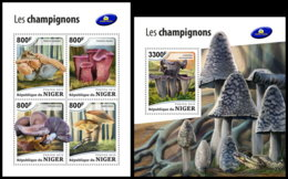 NIGER 2018 **MNH Mushrooms Pilze Champignons M/S+S/S - OFFICIAL ISSUE - DH1851 - Champignons