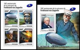 NIGER 2018 **MNH Ferdinand Von Zeppelin Airship M/S+S/S - IMPERFORATED - DH1851 - Zeppelins