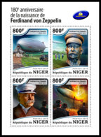 NIGER 2018 **MNH Ferdinand Von Zeppelin Airship M/S - IMPERFORATED - DH1851 - Zeppelins