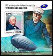 NIGER 2018 **MNH Ferdinand Von Zeppelin Airship S/S - IMPERFORATED - DH1851 - Zeppelins
