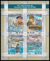 SAO TOME 2018 **MNH 75 Years Invasion Of Sicily Invasion Auf Sizilien M/S - IMPERFORATED - DH1851 - WW2