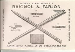 62 - Pas De Calais - Boulogne Sur Mer - Buvard Baignol & Farjon - Plumes - Crayons - Réf.30. - Papeterie