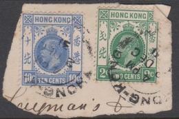 Hong Kong Scott 110 And 114 1912 King George V 2c Green And 10c Ultra On Piece, Used - Hong Kong (...-1997)