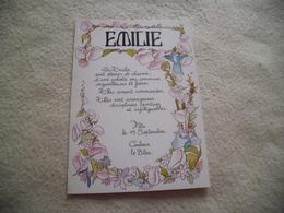 BELLE ILLUSTRATION PRENOM EMILIE - Prénoms