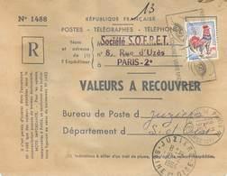 Lettre De Valeurs à Recouvrer - Timbre Postal N° 1331 - Oblitérations : Départ PARIS - Arrivée JUZIER - France