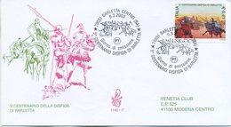ITALIA - FDC  VENETIA 2003 - LA DISFIDA DI BARLETTA  - ANNULLO SPECIALE - VIAGGIATA - 6. 1946-.. Repubblica