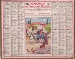 ALMANACH DES POSTES 1937 - FORMAT LIVRET CARTONNE SIMPLE- COMPLET AVEC CARTE - DEPARTEMENT DES BOUCHES DU RHONE - Calendars