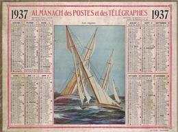 ALMANACH DES POSTES 1937 - FORMAT LIVRET CARTONNE SIMPLE- COMPLET AVEC CARTE - DEPARTEMENT DU GARD. - Calendars