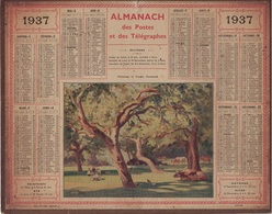ALMANACH DES POSTES 1937 - FORMAT LIVRET CARTONNE SIMPLE- INCOMPLET COMPLET - VERSO QUELQUES INFORMATIONS. - Big : 1941-60