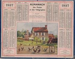 ALMANACH DES POSTES 1937 - FORMAT LIVRET CARTONNE SIMPLE- COMPLET AVEC CARTE - DEPARTEMENT DE LA SEINE. - Calendars