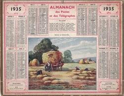 ALMANACH DES POSTES 1935 - FORMAT LIVRET CARTONNE SIMPLE- INCOMPLET COMPLET - PLI HORIZONTAL. - Big : 1941-60