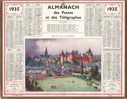 ALMANACH DES POSTES 1935 - FORMAT LIVRET CARTONNE SIMPLE- COMPLET AVEC CARTE - DEPARTEMENT DU GARD. - Calendars
