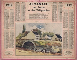 ALMANACH DES POSTES 1935 - FORMAT LIVRET CARTONNE SIMPLE- COMPLET AVEC CARTE - DEPARTEMENT DE LA SEINE. - Calendars