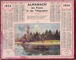 ALMANACH DES POSTES 1934 - FORMAT LIVRET CARTONNE SIMPLE- INCOMPLET - DEPARTEMENT LOIRE INFERIEURE. - Big : 1941-60