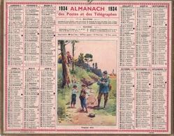 ALMANACH DES POSTES 1934 - FORMAT LIVRET CARTONNE SIMPLE- COMPLET AVEC CARTE - DEPARTEMENT DES BOUCHES DU RHONE. - Calendars
