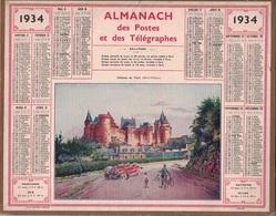 ALMANACH DES POSTES 1934 - FORMAT LIVRET CARTONNE SIMPLE- COMPLET AVEC CARTE - DEPARTEMENT DE L'ISERE. - Calendars