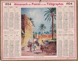 ALMANACH DES POSTES 1934 - FORMAT LIVRET CARTONNE SIMPLE- INCOMPLET VERSO JUSTE LES MAREES- DEPARTEMENT LOIRE INFERIEURE - Calendriers